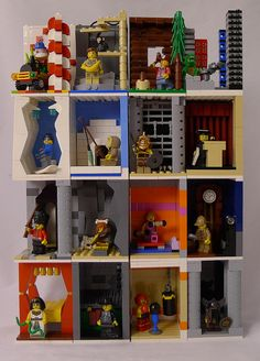 collectible minifig modular display shelf I think someone built little dioramas for the mini-figs. Legos, Minifigures Lego, Lego Minifigure Display, Lego Display, Display Case, Lego Boards, Lego Club, Lego For Kids, Lego Room
