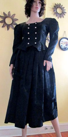 Black Victorian Style Suit.  Floral Satin by MISSVINTAGE5000