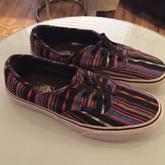 Size 7 Authentic Tribal Vans Loved authentic striped tribal vibe Vans. Signs of wear on the side of the soles but with a little more Clorox they'll look even better! Vans Shoes Sneakers