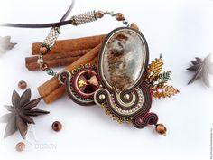 Купить Сутажное колье Пряная осень с натуральным камнем - коричневый, колье ручной работы