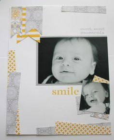 great muted colours using matching dsp. LO by Heather Summers Simple Scrapbooking Layouts, Scrapbook Page Layouts, Fun Crafts, Paper Crafts, Baby Scrapbook Pages, Muted Colors, Baby Photos, Card Making, Crafty
