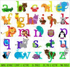 Animal Alphabet Font with Safari Jungle Zoo Animals by PinkPueblo
