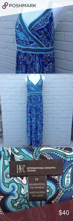 """INC International Concepts Woman Maxi Dress - 1X Beautiful maxi dress with a pattern in blues, aqua, black and white, sleepless, v-neck line, smocked in chest area in back. 95% Polyester 5% Spandex. Length 52"""" INC International Concepts Dresses Maxi"""