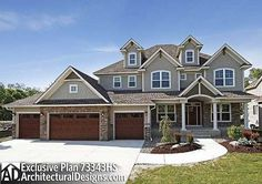 Plan Storybook House Plan With 4 Car Garage - Dream House Br House, Garage House, 5 Car Garage, Garage Doors, Craftsman House Plans, Craftsman Style, In Law Suite, House Goals, House Floor Plans