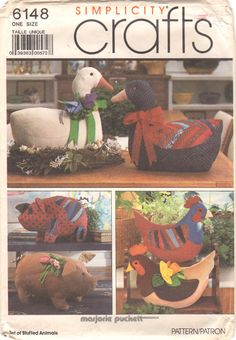Simplicity 6148 8538 1980s Stuffed Animals Pattern Pig by mbchills