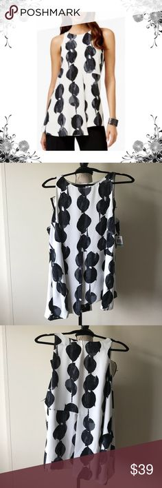 {Alfani} Plus Size Printed Sleeveless Blouse Measurements coming soon! Manufacturer Color is Watercolor Spot. 100% Polyester shell and lining. Price tag has been cut but is still intact. Bundle for discounts! Thank you for shopping my closet! Bin Alfani Tops Blouses