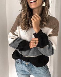 Fashion Color-block Long Sleeve Casual Crew Neck Sweater, White / S Casual Sweaters, Sweaters For Women, Jersey Casual, Cooler Look, Color Block Sweater, Green Sweater, Sweater Shop, Fashion Colours, Cotton Sweater