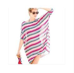 Good deal Fashion Sexy Womens Beach Cover Up Stripes Oversized Beach Swimsuit Cover-up Beach Wear Swimwear Dress