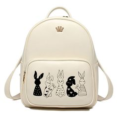 Metallic Bunny Embroidery Backpack (65 BAM) ❤ liked on Polyvore featuring bags, backpacks, day pack backpack, knapsack bag, embroidery bag, white backpack and bunny backpack