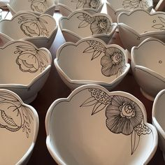 Painting pots today for 2 upcoming sales. TPS Holiday Bazaar on Dec 4th and GLAM on Dec. 6th. #fergusonpottery