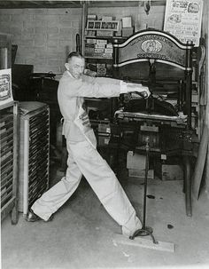 Charles Palmer, founder of the Shakespeare Press, in his backyard printing office, c. 1960s