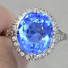 Natural Vintage 5.15CT Oval Cut Tanzanite with White Sapphire Accents 925 Sterling Silver Ring Size 6.75