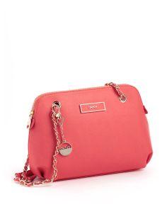 Dkny Saffiano Leather Round Crossbody Bag coral