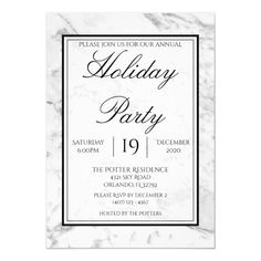 Shop Black White Gray Marble Holiday Party Invitation created by CynthiaComas. Personalize it with photos & text or purchase as is! Funny Christmas Videos, Christmas Ad, Modern Christmas, Simple Christmas, Christmas Humor, Holiday Parties, Holiday Cards, Gray Marble, Xmas Dinner
