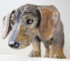 This is the lovely Ruby. My client wanted a sculpture of her similar to 'the Long Sniff' (see other pin). She had the most beautiful expressive eyes which I thoroughly enjoyed modelling. Pottery Animals, Ceramic Animals, Clay Animals, Wire Haired Dachshund, Dachshund Dog, Daschund, Dog Sculpture, Animal Sculptures, Dog Varieties