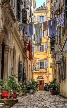 Kerkyra old town, Corfu Island, Greece Crete Greece, Santorini Greece, Athens Greece, Dubrovnik, Beautiful Streets, Beautiful Places, Naples, Greece Rhodes, Corfu Town