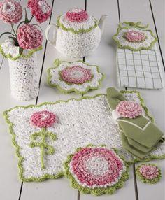 PB038 Carnation Kitchen Set Crochet Pattern - http://www.maggiescrochet.com/carnation-kitchen-set-p-1570.html #crochet #pattern #carnation #kitchen #set #home #decor #tea #pot #holder
