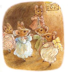 Beatrix Potter II - Beatrix Potter - The Tale of Mrs. Tittlemouse - 1910 - Tittlemouse and Five Mouse Party Painting Beatrix Potter Illustrations, Susan Wheeler, Beatrice Potter, Peter Rabbit And Friends, Marjolein Bastin, Motifs Animal, Tatty Teddy, Children's Book Illustration, Illustrators