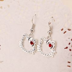 hello kitty dangle Earrings Creative cat Promotion Lovely Clear Red Crystal drop Earring cute Gift For Girls Fashion Jewelry