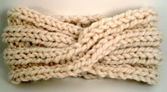 Chunky Knit Turban Headband Earwarmer - Cream. $30.00, via Etsy.
