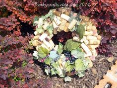 SALE Wine Country wine cork wreath  table by Corkycrafts on Etsy, $35.00