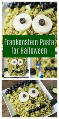 Frankenstein Pasta for Halloween - Ms T. - Frankenstein Pasta for Halloween Frankenstein Pasta for Halloween - Halloween Party Snacks, Plat Halloween, Halloween Themed Food, Halloween Dishes, Hallowen Food, Halloween Decorations, Halloween Makeup, Diy Halloween Games, Halloween Costumes