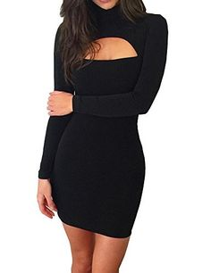 1077206f8bec Haola Women s Long Sleeve Cut Out Front Sexy Club Bodycon Dress Party Mini  Bandage Dress