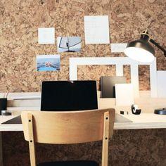 Kork vegg fra WALL-IT passer ypperlig som Moodboard Office Desk, Wall Lights, Furniture, Home Decor, Desk Office, Appliques, Decoration Home, Desk, Room Decor