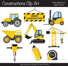 Digital Clipart  Constructions vehicles by funkymushrooms on Etsy, €3.20