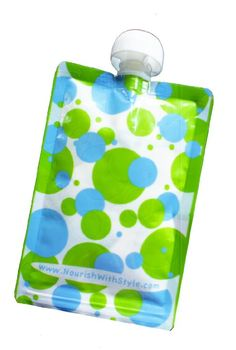 10 Pack   Polka Dot   Nourish Reusable & Refillable Food Pouch for Babies & Kids
