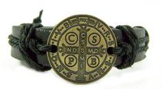 Amazon.com: Black Bronze Catholic Patron Saint St. Benedict Exorcism Medal Bracelet Protect: Jewelry