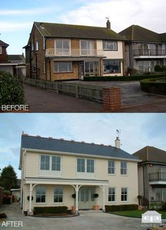 house Transformation of coastal property with a complete renovation by Back to Front Exterior Design Home Exterior Makeover, Exterior Remodel, Home Renovation, Home Remodeling, 1970s House, House Makeovers, Exterior Cladding, House Blueprints, Facade House