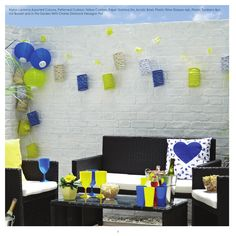 Poundland Summer 2016 Brochure  Be inspired by the alfresco dining range, with its mosaic yellow and blue tableware pattern and coordinating accessories – it's perfect for all outdoor dining occasions.