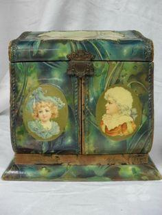 antique Victorian celluloid dresser box