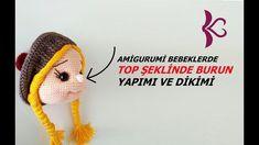 Top Şeklinde Burun Yapımı (Amigurumi Teknikleri) - YouTube Crochet Motifs, Crochet Patterns Amigurumi, Amigurumi Doll, Crochet Dolls, Free Crochet, Knit Crochet, Crochet Hats, Amigurumi Tutorial, Crochet Animals