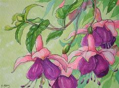 Storybook Cottage Flowers Dancing Belle Fuschia - Original Fine Art for Sale - © Alida Akers