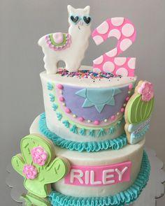 #llamadrama #noprobllama #llamacake #thekakelady #thekakeladycookies #cookiesonacake Fiesta Cake, Fiesta Party, Pretty Cakes, Cute Cakes, 2nd Birthday Parties, Birthday Cake, Birthday Ideas, Llama Birthday, Cakes And More