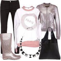 Rosa antico e rosa glitter abbinato con il nero per un tocco glam. Per la ragazza che si muove con i mezzi pubblici indispensabili gli stivali di gomma per difendersi dalla pioggia, la maxi borsa per contenere libri o pc e il bomber glitter per sentirsi femminile sempre.
