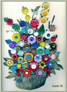 Button Art Card / Contains primarily synthetic buttons mounted by Claudia Cope Button Bouquet, Button Flowers, Diy Buttons, Vintage Buttons, Crafts To Make, Arts And Crafts, Diy Crafts, Button Cards, Button Button