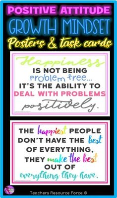 Do you want to teach your teenage students how to improve their growth mindset and develop a more positive attitude to life as well as their education? Then this motivational and inspirational set of posters and task cards is for you!