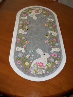 """LAST ONE! Bunnies/birds/butterflies/garden 31""""x15"""" Table Runner/Candle Mat"""