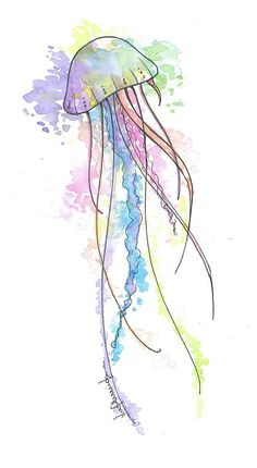 Black-line jellyfish painted with black-and-rose watercolors tattoo designI love watercolor and I love jelly fish! Jellyfish Drawing, Watercolor Jellyfish, Jellyfish Painting, Jellyfish Tattoo, Watercolor Fish, Jellyfish Quotes, Jellyfish Sting, Jellyfish Aquarium, Jellyfish Light