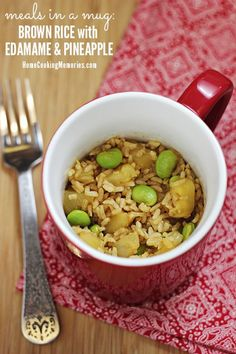 Brown Rice with Edamame and Pineapple -- an easy, vegetarian meal-in-a-mug that you can make in minutes. Quick meal-for-one, or for college students, or anyone who only has access to a microwave for cooking Edamame, Dog Food Recipes, Vegetarian Recipes, Cooking Recipes, Healthy Recipes, Cooking Ideas, Budget Recipes, Easy Recipes, Healthy College Meals