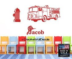 Wall Decal Vinyl Sticker Decals Art Decor Design Fire Truck Big Car Personalized Custom Name Kids Children Nursery r1209 ** This is an Amazon Affiliate link. You can get additional details at the image link.
