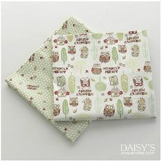 Organic Baby Fabric Twilled Cotton Animal Owl Fabric by Cozyhomess