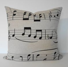Musical Notes Decorative  Linen Pillow Cover in by pillows4fun, $32.00