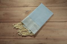 Honeycomb Hand Towel in Light Blue with Metallic by FineFoutas