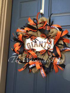 San Francisco Giants wreath Giants MLB by TheWhimsicalDoor on Etsy Sf Giants Logo, Mlb Giants, Baseball Burlap Wreath, Sports Wreaths, San Francisco Giants, Etsy