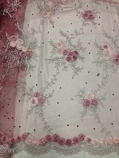 """ROSE PINK SILVER COREDED  EMBROIDERY RHINESTONE MESH  LACE FABRIC 48"""" WIDE 1 YD"""