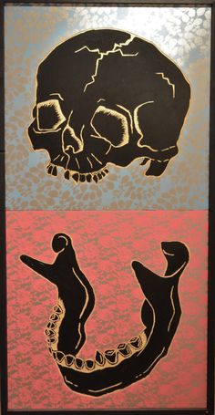 "Hellbent, Skull and Jawbone, Acrylic with Enamel and Spray Paint on Carved Wood Panels, 49""x25"", For Price: Contact@MightyTanaka.com Street Work, Carved Wood, Wood Paneling, Scooby Doo, Enamel, Skull, Carving, Artist, Painting"